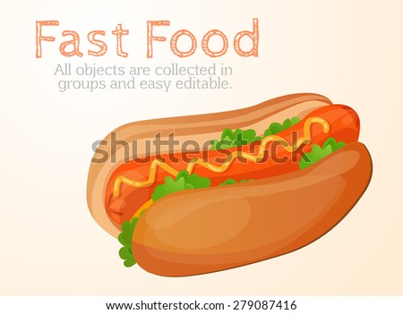Hot dog, sandwich, fast food - stock vector