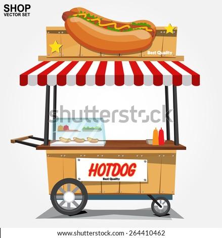 hot dog street cart.vector - stock vector