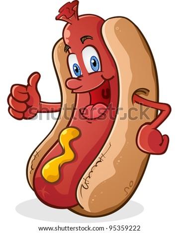 Hot Dog Thumbs Up Cartoon Character - stock vector