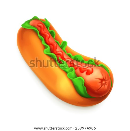 Hot dog, vector icon - stock vector