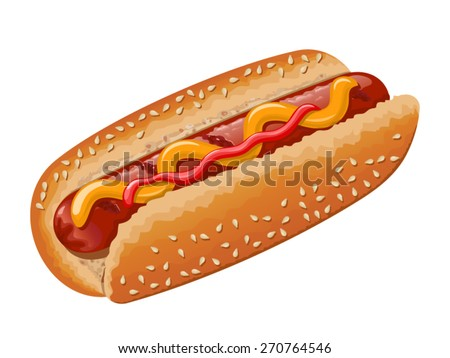 Hot dog with grilled sausage, mustard and some ketchup. Vector illustration - stock vector