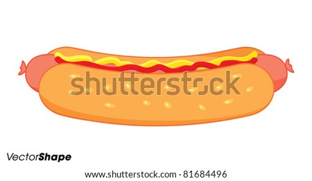 Hot dog with mustard and ketchup vector illustration - stock vector