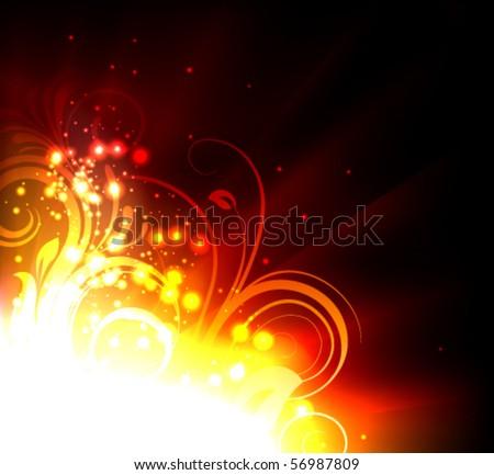 hot floral corner - stock vector