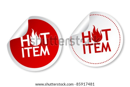 Hot item stickers - stock vector