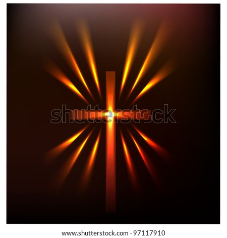 Hot light of the cross.Vector - stock vector