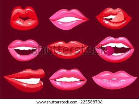 hot lips vector cartoon collection - stock vector