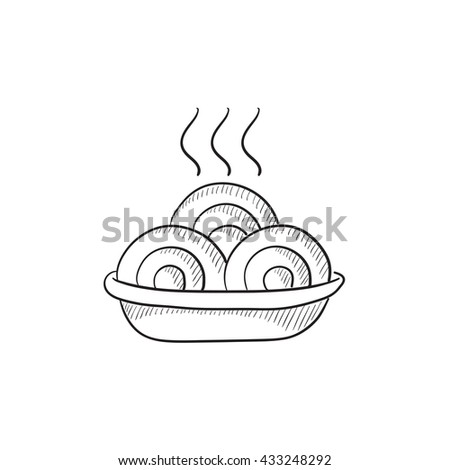 Hot meal in plate vector sketch icon isolated on background. Hand drawn Hot meal in plate icon. Hot meal in plate sketch icon for infographic, website or app. - stock vector