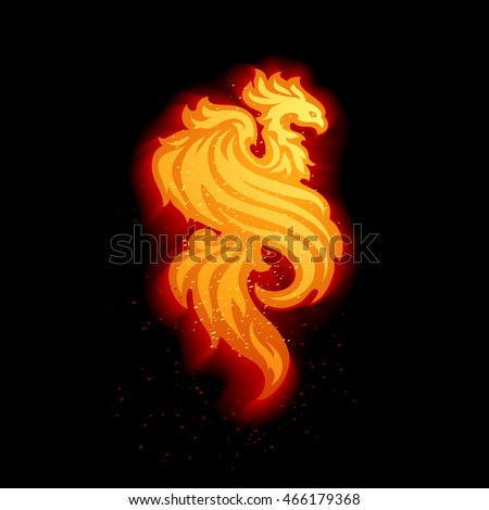 Hot Orange Fire Bird Flames Sparkles Stock Vector 466179368