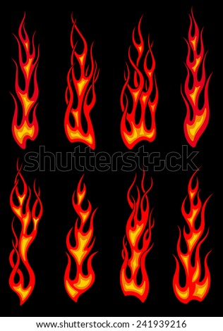 Hot orange tribal fire flames isolated on black background for tattoo or car and motorcycle decorations design - stock vector