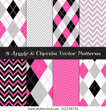 Hot Pink, Gray, Black and White Argyle and Chevron Patterns. Vector EPS File Includes Pattern Swatches Made with Global Colors. - stock vector