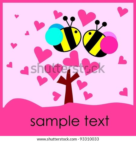 hot pink love heart tree with two bee Valentine's Day card - stock vector