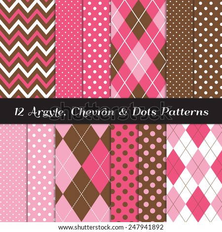 Hot Pink, Pink, Brown and White Chevron, Argyle and Polka Dot Patterns. Sock Monkey Style Backgrounds. Vector EPS File Contains Pattern Swatches Made with Global Colors. - stock vector