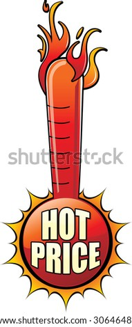 Hot Price Thermometer - Sale Flash for advertising - stock vector