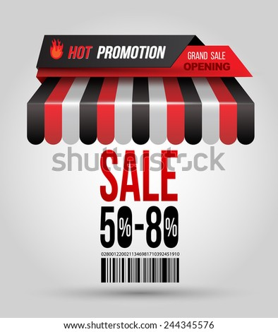 """Hot promotion sale poster roof shop with """"SALE 50-80""""  and bar code. Vector illustration.  - stock vector"""