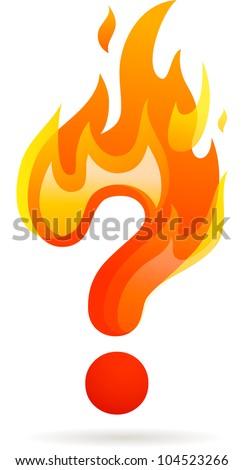 Hot question mark icon - stock vector