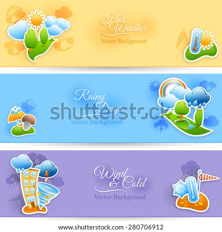 Hot rainy and cold windy days seasonal weather background flat horizontal banners set abstract  isolated vector illustration - stock vector