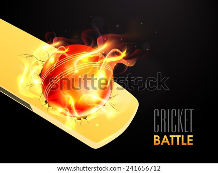 Hot red ball in flame on shiny bat for Cricket Battle. - stock vector