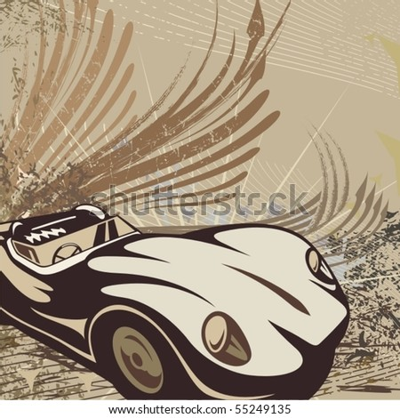 Hot rod background with a car. - stock vector