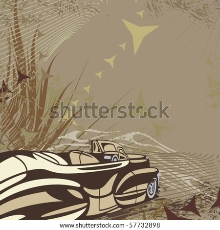 Hot rod background with a car - Original design - stock vector
