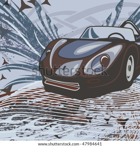 Hot rod background with a retro car. - stock vector