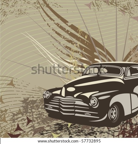 Hot rod background with a retro car - Original design - stock vector