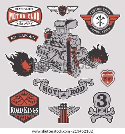 Hot rod racer engine set - stock vector