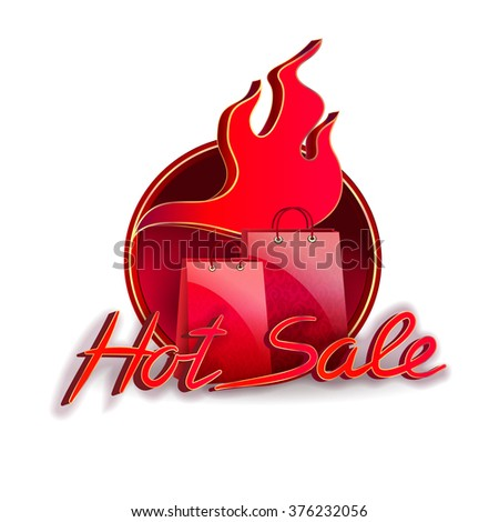 Hot sale background template with flame and shopping bags. Below of vector is located text - hot sale.