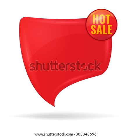 Hot sale concept. Discount tag  - red speech bubble.Vector illustration. - stock vector
