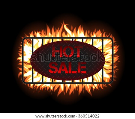 Hot Sale flame label tag. Grill concept with fire, charcoal and realistic cast iron grate. Black Friday fire label tag for wed advertising and design. Great sales promotion concept eps10 vector. - stock vector