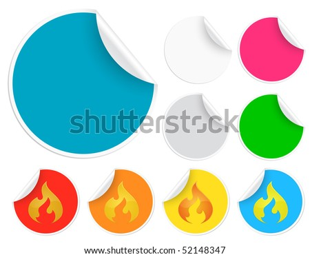 Hot sale! Set of stickers with peeling corners - stock vector