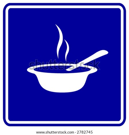 hot soup sign - stock vector