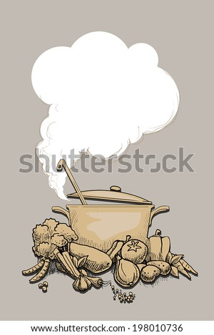 Hot steaming pot, surrounded by healthy organic vegetables, vector illustration - stock vector