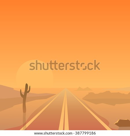 Hot summer desert landscape with straight road
