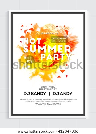Hot Summer Party Template, Musical Party Banner, Dance Party Flyer or Club Invitation design. - stock vector