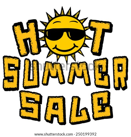 Hot Summer Sale sun in sunglasses logo - stock vector