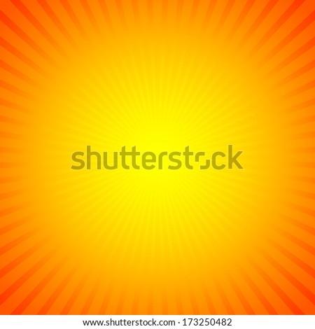 Hot sun lights, abstract sunburst & starburst summer background - stock vector