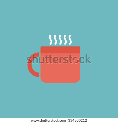 Hot tea cup. Colorful vector icon. Simple retro color modern illustration pictogram. Collection concept symbol for infographic project and logo - stock vector