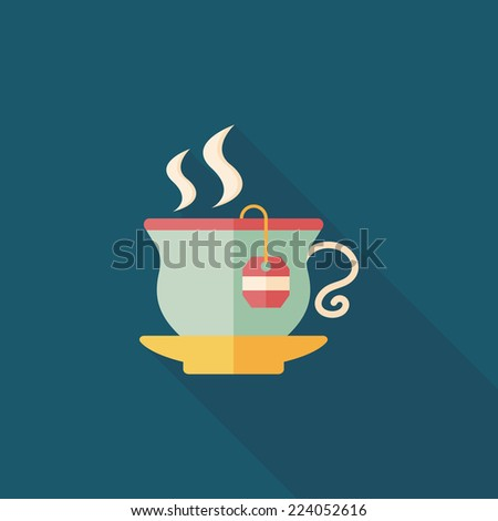 hot tea flat icon with long shadow,eps10 - stock vector