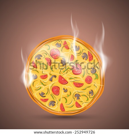 Hot vegetarian pizza, vector illustration 4 your design, eps10 3 layers - stock vector