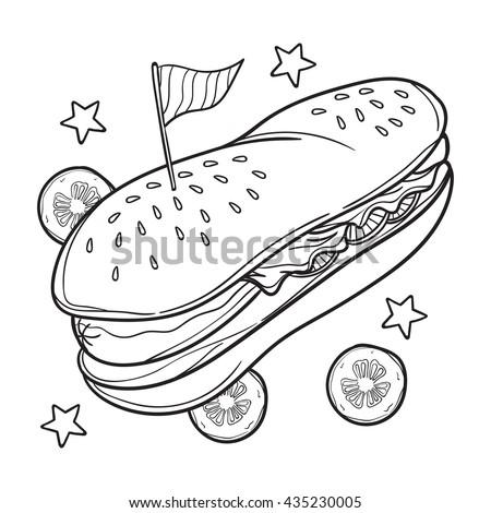 hotdog coloring book illustration