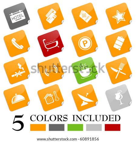 Hotel and accommodation icons. EPS includes each icon in 5 colors. - stock vector