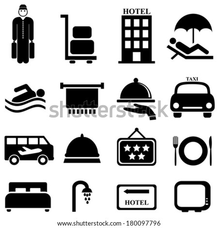 Hotel and hospitality icon set - stock vector