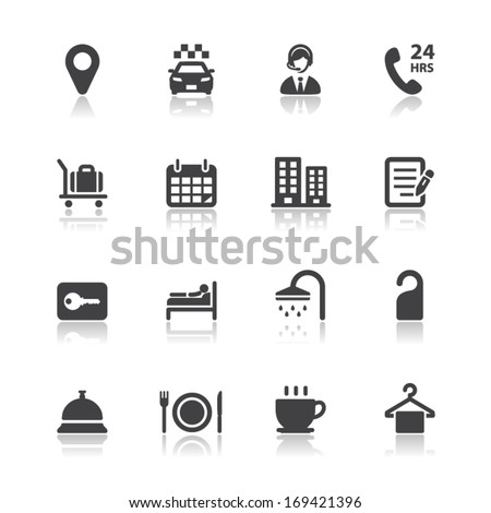 Hotel and Hotel Amenities Services Icons with White Background - stock vector