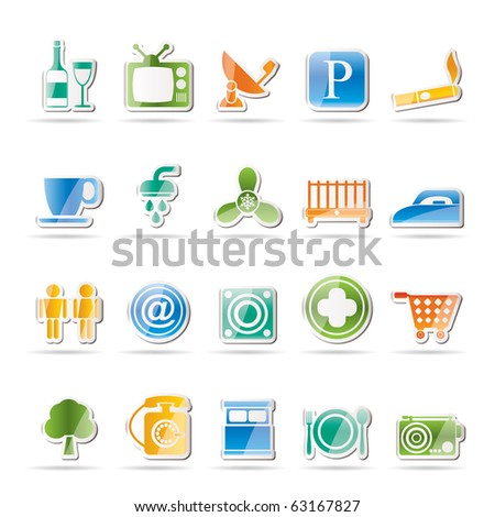Hotel and Motel objects icons - vector icon set - stock vector