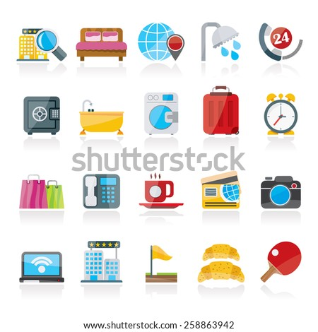 Hotel and motel services icons 1- vector icon set - stock vector