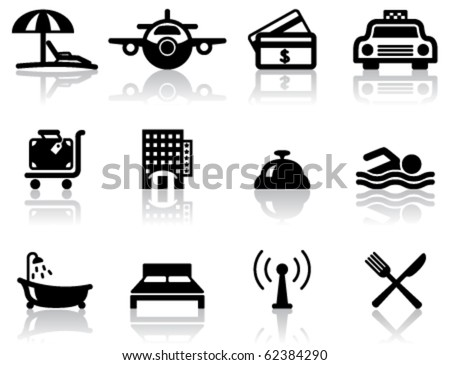 Hotel and travel black icons set - stock vector
