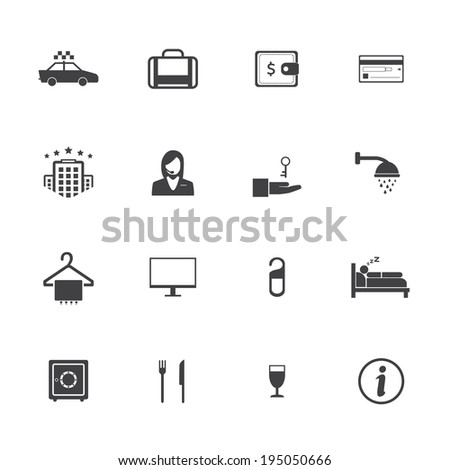 Hotel and travel icons - stock vector