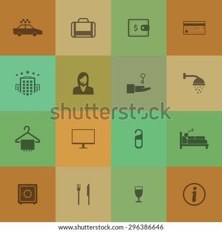 Hotel and travel icons on retro colour background. - stock vector