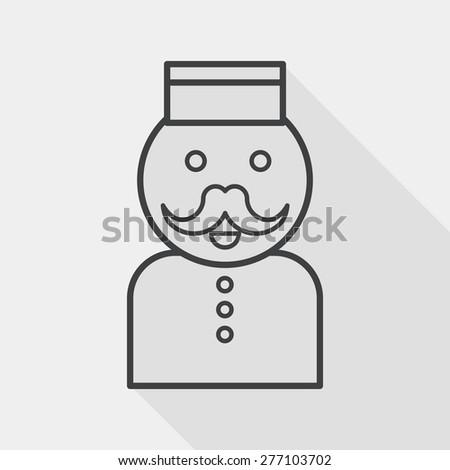 Hotel bellhop flat icon with long shadow, line icon - stock vector
