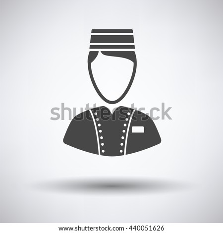 Hotel boy icon on gray background with round shadow. Vector illustration. - stock vector